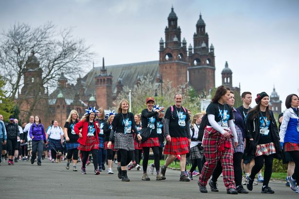 People walking past Kelvingrove Art Gallery in the Kiltwalk
