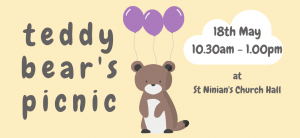 Bear holding balloons for Teddy Bear's Picnic Event
