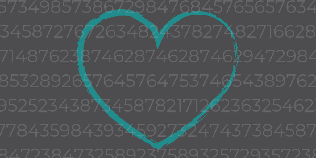 A teal heart behind numbers