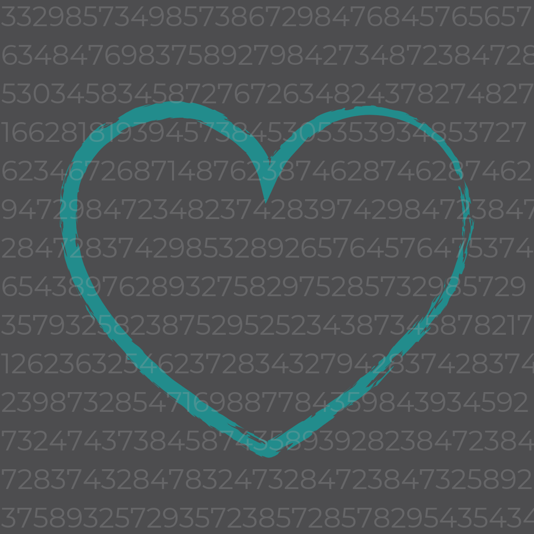 A teal heart hiding behind the numbers