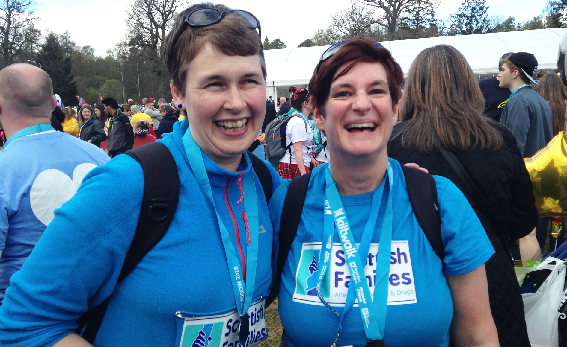 Two women with medals at Kiltwalk