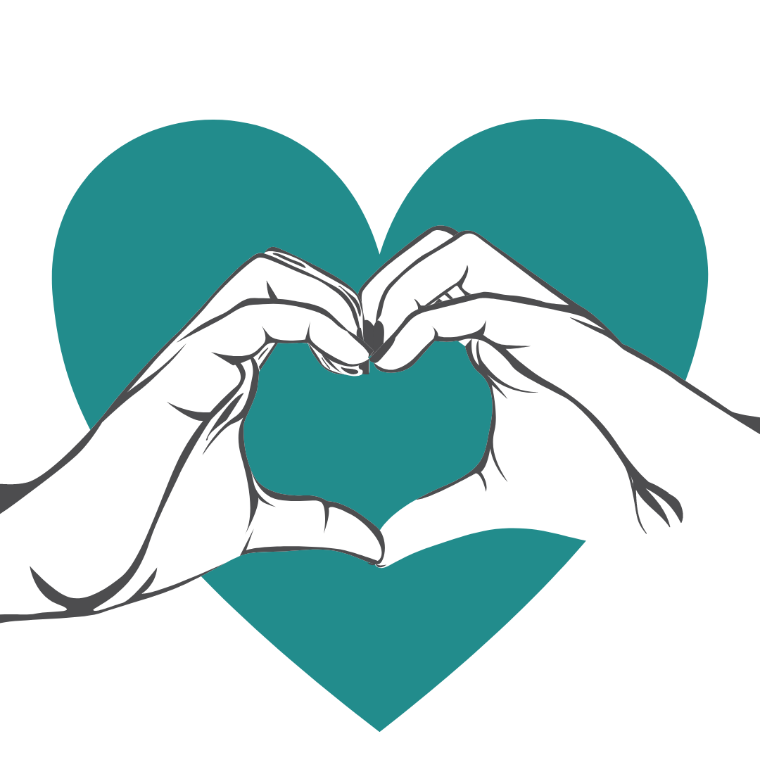 hands making heart shape in front of teal heart