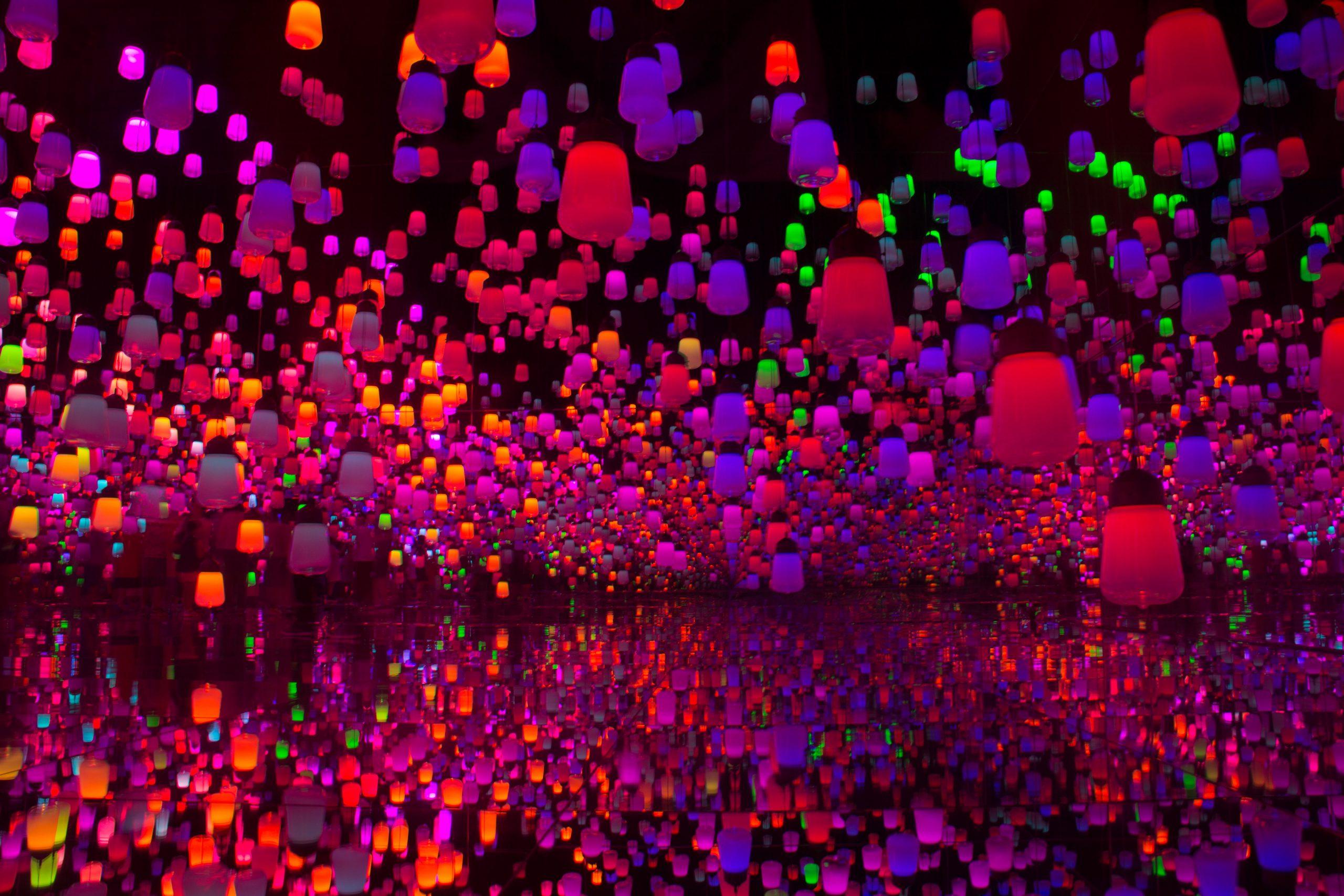 neon coloured lanterns